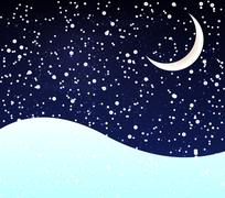 Snow at night crescent Stock Illustration