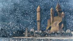 Cartoon medieval castle. River coast light house. Dark winter night. Snowfall. - stock footage