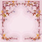 Stock Illustration of Autumn wild grape branches and leaves in pastel background.