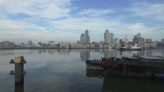 Aerials Rotterdam morning flight over harbor towards city center Stock Footage