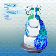 Stock Illustration of Wedding cake with couple peacocks. Blue, green vector design.