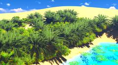 Stock Illustration of African oasis on Sahara