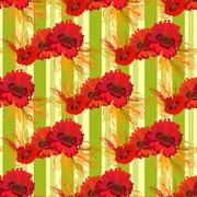 Garland of poppies and wheat. Seamless pattern - stock illustration