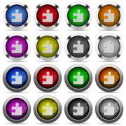 Jigsaw puzzle button set - stock illustration