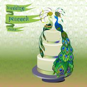 Stock Illustration of Wedding cake with couple peacocks. Green vector design.