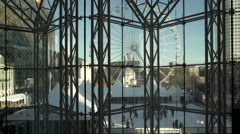 Birmingham Centenary Square  from inside the International Convention Centre. Stock Footage