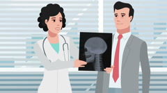 Cartoon Clinic / Woman doctor talking with patient Stock Footage