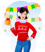 Stock Illustration of Girl with Christmas gift