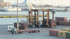View Distribution Of Containers In The Cargo Port Stock Footage
