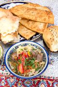 Lamian - Central Asian noodles cooked with mutton and vegetables - stock photo