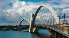 Timelapse View of JK Bridge in Brasilia, Brazil Stock Footage