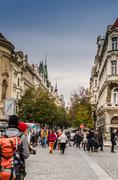 Prague, sunny day, rush street Stock Photos