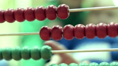 little boy counts on abacus - stock footage