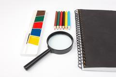 School Stationary .white list Stock Photos