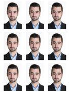 Identification photo of a serious man for passport, identity card, .. - stock photo