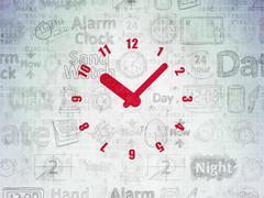Time concept: Clock on Digital Paper background - stock illustration