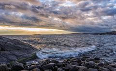 Archipelago sunset - stock photo