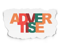 Advertising concept: Advertise on Torn Paper background - stock illustration