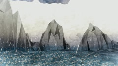 Abstract low poly cartoon mountain. Animation of rain. Background. Sea. Stock Footage