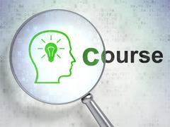 Stock Illustration of Studying concept: Head With Lightbulb and Course with optical glass