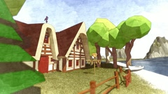 Small chalet house on the coast Autumn colors Cartoon lowpoly Sketch Stock Footage