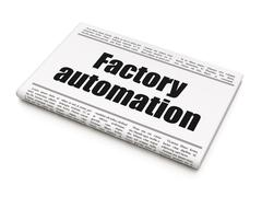 Stock Illustration of Manufacuring concept: newspaper headline Factory Automation
