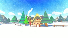 Small chalet house wintertime Christmas tree Forest Snowfall Cartoon sketch - stock footage