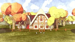 Small chalet house Autumn leaffall Forest Cartoon sketch style - stock footage