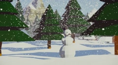 Snowman uner snowfall 3d low poly animation Stock Footage