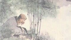 Chinese ancient painting,Hermit figure Stock Footage