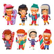 Cute Cartoon Skiers, Skaters and Snowboarders - stock illustration