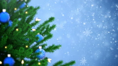 Christmas tree decoration with balls and light bulbs - stock footage