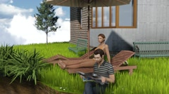 Two people sit on the edge of flying island with modern house Fly around Stock Footage