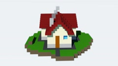 Cube house 3d rotation animation No texture - stock footage