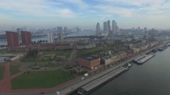 Aerials Rotterdam Pier,  harbor and city center on a hazy morning 25fps Stock Footage