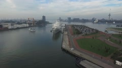 Aerials Rotterdam SS Rotterdam and Spido in Maashaven harbor 30fps Stock Footage