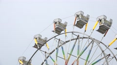 Close Up Ferris Wheel On Overcast Day Stock Footage