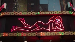 Show Girls Neon Sign Stock Footage
