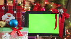 Green screen digital tablet with christmas decoration 3 Stock Footage