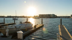 Marina Del Rey Golden Hour With Sun Timelapse Stock Footage