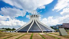Timelapse View of the Nossa Senhora Aparecida Cathedral in Brasilia, Brazil Stock Footage