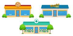 City Store Buildings Set Stock Illustration