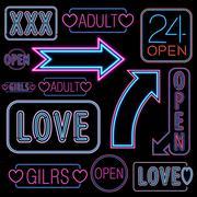 Stock Illustration of Neon font set