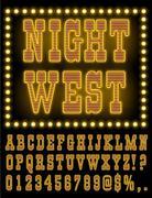 Vegas Night Font - stock illustration