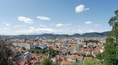 Graz City Panorama From Uhrturm In Austria Stock Footage