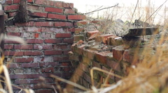 Stock Video Footage of red curves bricks stones, dried plants