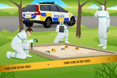 Forensic Working on a Crime Scene - stock illustration