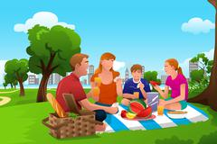Family Having a Picnic in the Park Stock Illustration