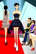 Fashion Model Walking on Runway Show - stock illustration