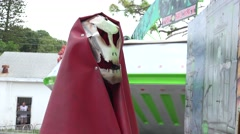Metal Skeleton Monster At Carnival Stock Footage